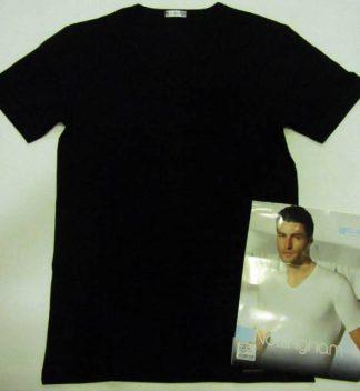 Cotonella in druge znamke Moška majica na V izrez v črni barvi
