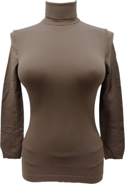 Zadnji kosi-ugodne cene Ženska majica dolg rokav na puli ovratnik.