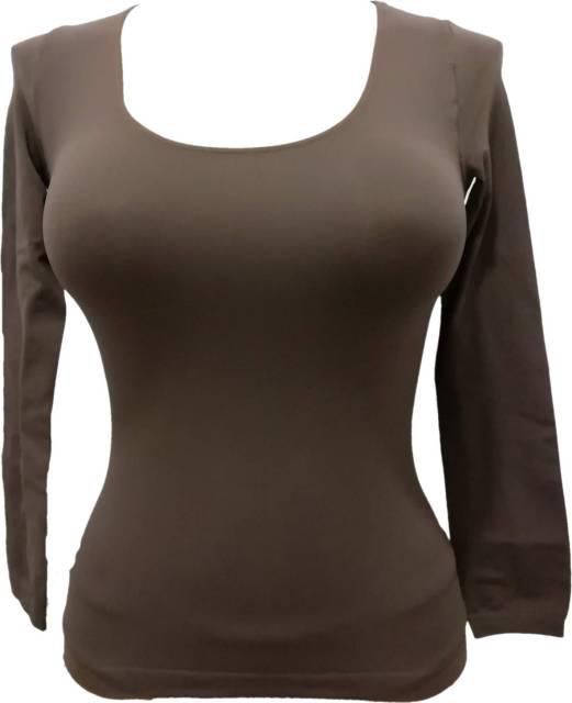 Zadnji kosi-ugodne cene Ženska majica na globok okrogel izrez dolg rokav