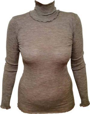 Spodnje majice kratek - dolg - 3/4 rokav in puliji Ženska majica dolg rokav rebraste strukture iz volne in svile