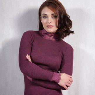 Ženska majica polpuli s čipko narejena iz mešanice akrila in volne Spodnje perilo iz volne trgovinamacek