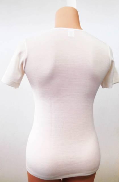 Spodnje perilo iz volne Ženska majica kratek rokav iz mešanice volne, akrila. Bombažna na notranji strani