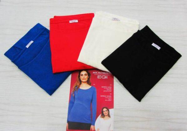Spodnje majice kratek - dolg - 3/4 rokav in puliji Ženska majica dolg rokav iz mešanice modala in volne