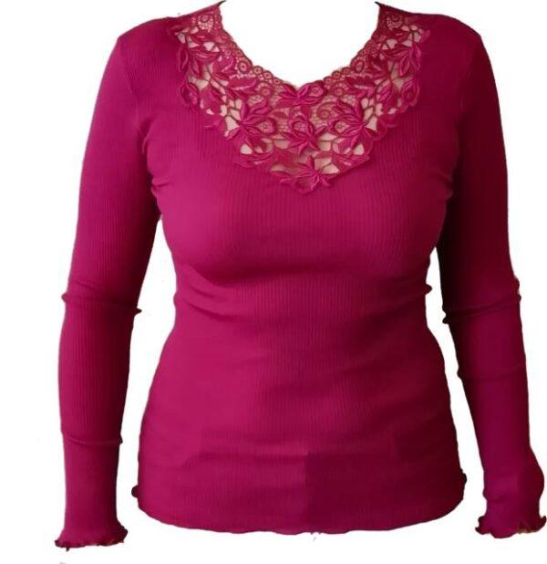 Spodnje perilo iz volne Ženska majica na okroglo dolg rokav iz 85% volne in 15% svile